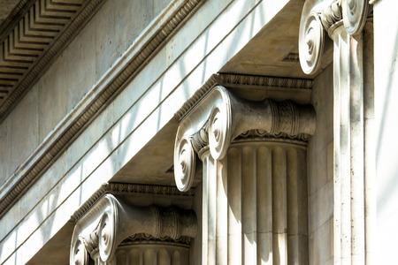 classical greek: Classical Greek or Roman Ionic column in British Museum. London. UK
