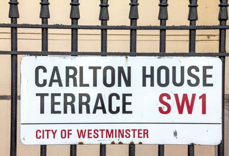 westminster city: Street sign of Carlton House Terrace in City of Westminster on white plate at Central London