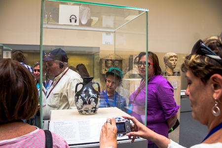 British Museum Visitors Look At The Portland Vase Is A Roman