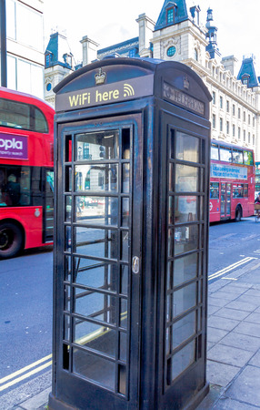 access point: Old telephone booth, is currently used as an access point to WiFi in  the central London. UK Editorial