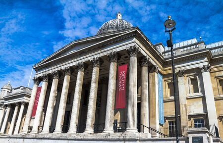 western european: Exterior of the National Gallery in Trafalgar Square, London on 26th April 2013. The gallery houses a collection of Western European painting from the 13th to the 19th centuries. London,UK Editorial