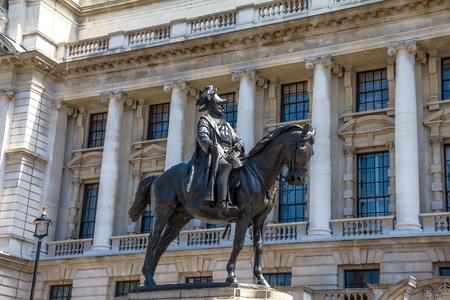duke: Prince George, Duke of Cambridge-statue on Whitehall, opposite the Old War Office. London, UK.