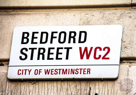 westminster city: Bedford Street sign  in City of Westminster  on white at Central part of city. London, UK