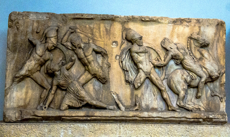 attributed: Panel of Battle of Greeks and Amazons, east frieze, Mausoleum at Halicarnassus, attributed to Skopas, marble. British Museum, London