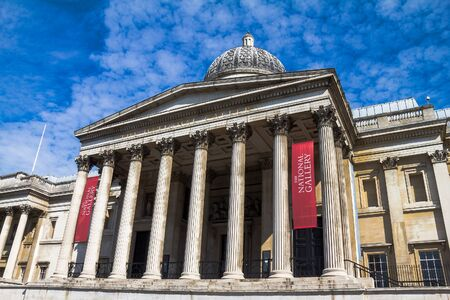 western european: Exterior of the National Gallery in Trafalgar Square, London. The gallery houses a collection of Western European painting from the 13th to the 19th centuries. Editorial