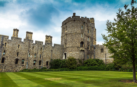 windsor: View of Upper Ward Quadrangle in Medieval Windsor Castle. Windsor Castle is a royal residence at Windsor in the English county of Berkshire. UK