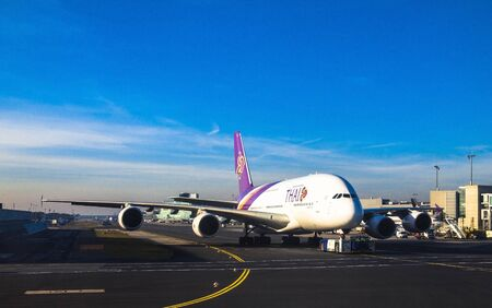 airways: A Thai Airways Airbus A380 in Frankfurt am Main airport. Thai Airways has six Airbus A380s, the last due for delivery by summer 2013
