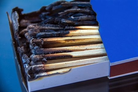 Box with burnt matches