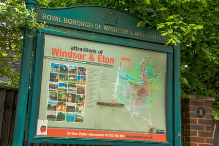 windsor: Billboard with attractions for tourists in Windsor and Eton. UK