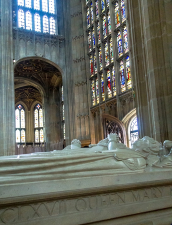 the royal county: Gravestone of Queen Mary inside St. George Chapel in Windsor Castle, royal residence at Windsor in the English county of Berkshire. UK Editorial