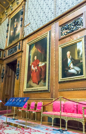 the royal county: Interior of royal palace in medieval Windsor Castle. Windsor Castle is a royal residence at Windsor in the English county of Berkshire. It was built in 1066 by William the Conqueror and it is the longest-occupied palace in Europe. UK