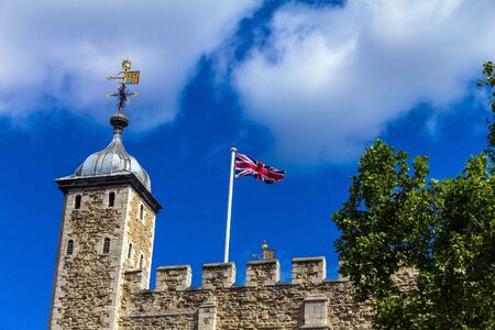 11th century: Historic The White Tower dates from the late 11th century. at Tower of London historic castle on the north bank of the River Thames in central London - a popular tourist attraction. London, UK