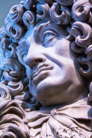 curvaceous: Charles II portrait bust in style Restoration ,  by Honor Pelle, 1684. Genoa, Italy .  V&A Museum, worlds largest museum of decorative arts and design. London