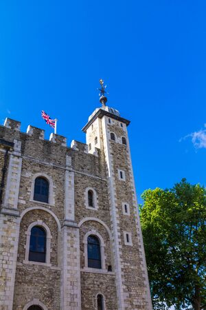 ancient prison: Historic The White Tower at Tower of London historic castle on the north bank of the River Thames in central London - a popular tourist attraction. London Editorial