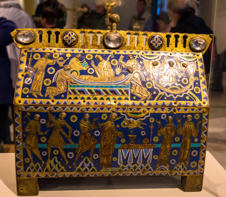 gilded: Becket Casket. Made in Limoges, France,  1180-1190.  Gilded copper and champleve enamel on wooden core. Victoria and Albert museum. London