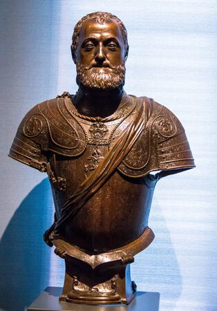duke: Don Ferdihando Alvarez De Toledo, 3-rd Duke of Alba by Leone Leone, made in Milan, Italy, bronze, 1554-6. V&A museum. London
