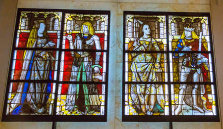 stained glass windows: Stained glass windows in St Johns Chapel, inside the White Tower, Tower of London. UK