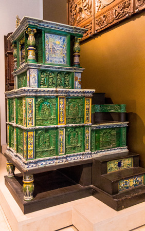 tiled stove: Tiled stove (with two tiles dated 1577), made in Villingen, Germany by Hans Kraut. Victoria and Albert museum. London
