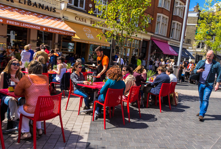kensington: Unidentified tourists and locals at South Kensington area at summer day near  Casa Brindisa restaurant. London