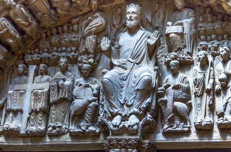 Cast of Portico de la Gloria (detail). The portal, known as the Portico de la Gloria is from the Cathedral of Santiago de Compostela in Spain. The original dates from the 12th century and is by the Master Mateo. London