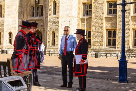 undress: Yeomen Warders of Tower of London (Beefeaters) in everyday undress uniform. Beefeaters are ceremonial guardians of the Tower of London.