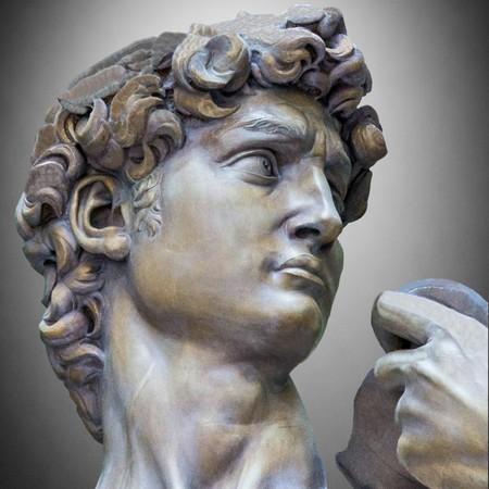 Detail close-up of Michelangelo's David statue