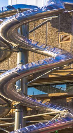 fire brigade: Metal spiral pipe for fire brigade downhill.  London. UK Editorial
