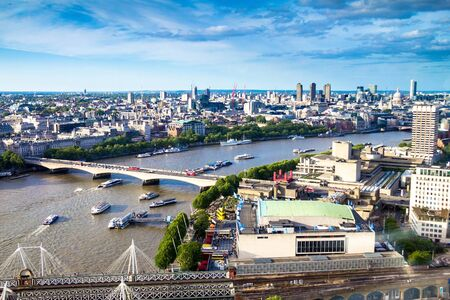 eye traveller: LONDON, UK - JUNE 6, 2015: Cityscape from London Eye  cabin.  London Eye is a giant Ferris wheel situated on the banks of the River Thames