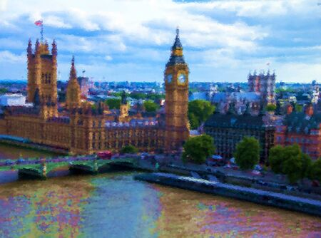 ben oil: Cityscape from London Eye with houses of Parliament , Big Ben and  Westminster Abbey with oil paints effect. London. UK Editorial
