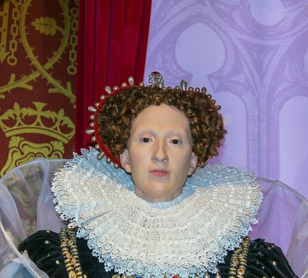 LONDON, UK - JUNE 7, 2015: Queen Elizabeth I wax figure At Madame Tussauds Museum