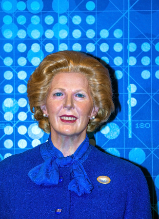 thatcher: LONDON , UK - JUNE 7, 2015: Prime Minister Margaret Thatcher at the  Madame Tussauds wax museum. Marie Tussaud was born as Marie Grosholtz in 1761 Editorial