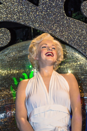 marilyn: LONDON , UK - JUNE 7, 2015: Marilyn Monroe in her white dress, Madame Tussauds museum in London. Marie Tussaud was born as Marie Grosholtz in 1761