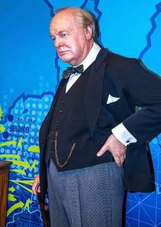 winston: LONDON, UK - JUNE 7, 2015: Winston Churchill at the Madame Tussauds wax museum. Marie Tussaud was born as Marie Grosholtz in 1761 Editorial