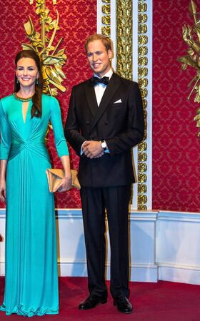 middleton: LONDON, UK- JUNE 07, 2015:  Wax figures of Prince William and Kate Middleton are seen on display at Madame Tussauds museum