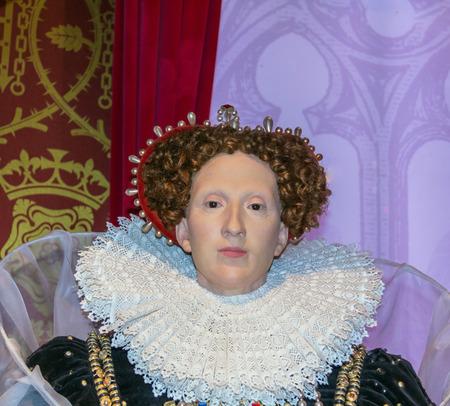 queen elizabeth: LONDON , UK - JUNE 7, 2015:   Queen Elizabeth I wax figure  At Madame Tussauds  Museum