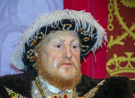 viii: LONDON , UK - JUNE 7, 2015:  King Henry 8th wax figure  At Madame Tussauds  Museum