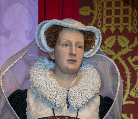scots: LONDON , UK - JUNE 7, 2015: Mary, Queen of Scots (1542-1587)   wax figure  At Madame Tussauds  Museum