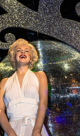 LONDON , UK - JUNE 7, 2015: Marilyn Monroe in her white dress, Madame Tussauds museum in London. Marie Tussaud was born as Marie Grosholtz in 1761