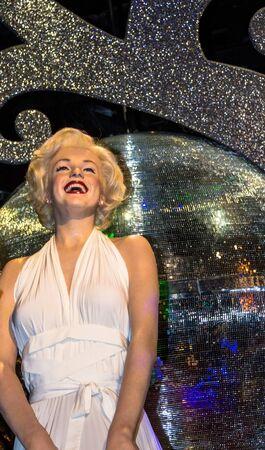 LONDON , UK - JUNE 7, 2015: Marilyn Monroe in her white dress, Madame Tussauds museum in London. Marie Tussaud was born as Marie Grosholtz in 1761 Redakční