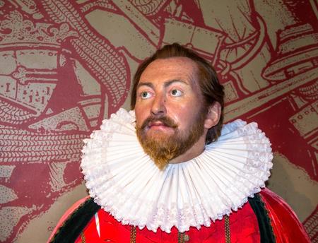 sir: LONDON , UK - JUNE 7, 2015:  Sir Francis Drake wax figure  At Madame Tussauds  Museum