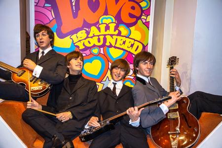 LONDON , UK - JUNE 7, 2015: Beatles wax figures in Madame Tussauds museum. Marie Tussaud was born as Marie Grosholtz in 1761
