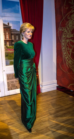 lady diana: LONDON , UK - JUNE 7, 2015:   Lady D, Princess Diana, Madame Tussauds museum in London. Marie Tussaud was born as Marie Grosholtz in 1761