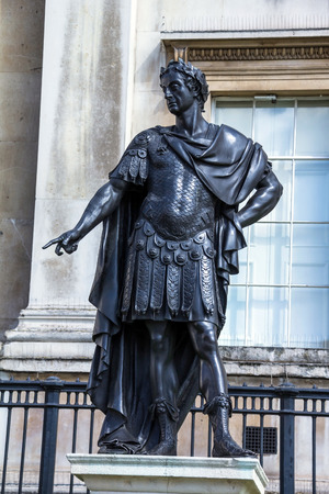 king james: Historic statue of King James II of England,  also King James VII of Scotland.  The sculpture, in Trafalgar Square was created by Grinling Gibbons and has been on public display in London since 1686.