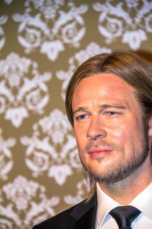 brad pitt: LONDON , UK - JUNE 7, 2015: Brad Pitt, Madame Tussauds museum in London. Marie Tussaud was born as Marie Grosholtz in 1761