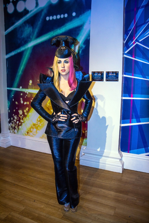gaga: LONDON , UK - JUNE 7, 2015: Lady Gaga, the singer, Madame Tussauds museum in London. Marie Tussaud was born as Marie Grosholtz in 1761