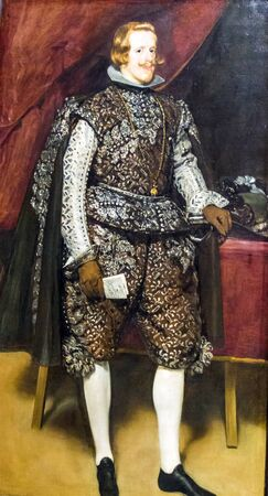 velazquez: LONDON, UK - JUNE 7, 2015: Philip IV of Spain in Brown and Silver(1631-1632)  by Diego Velazquez(1599-1560) at the National Gallery of London.  at the National Gallery of London. Editorial