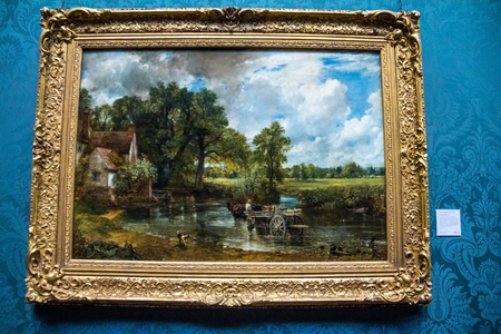 constable: LONDON, UK - JUNE 7, 2015: Hay Wain (1821) by John Constable (1776-1837)  at the National Gallery of London.  at the National Gallery of London. Editorial