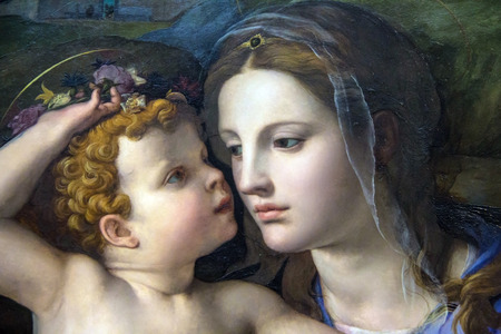 LONDON, UK - JUNE 7, 2015: Madonna and Child with Saints (1540) by Bronzino (1503-1572) at the National Gallery of London. Detail Editorial