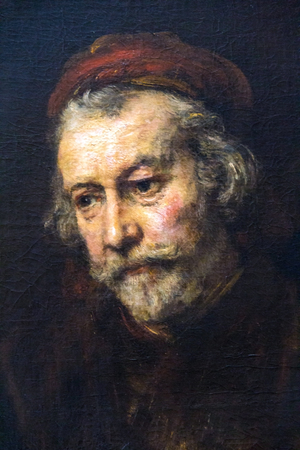 LONDON, UK - JUNE 7, 2015: Elderly Man as Saint Paul (1659)  by Rembrandt(1606-1669) at the National Gallery of London.  at the National Gallery of London.