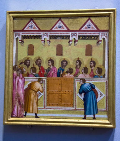 LONDON, UK - JUNE 7, 2015: The Pentecost (1310-1337)  by Giotto and Workshop at the National Gallery of London.